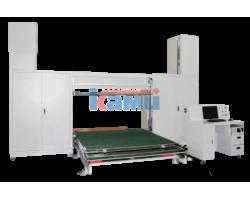Станок для фигурной резки поролона с ЧПУ, оснащённый поворотным столом. Модель RP-CNC-03